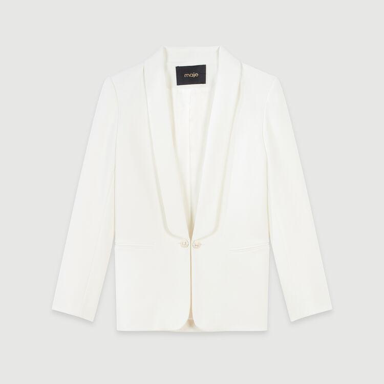 Gerade Jacke mit Schalkragen und Knöpfen : Blazers farbe Ecru