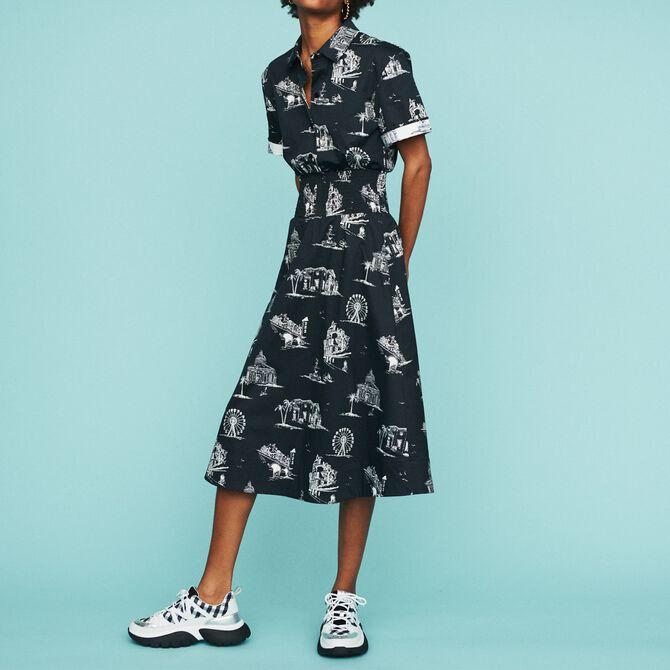 Midi-Kleid mit Paris Print - Alles einsehen - MAJE