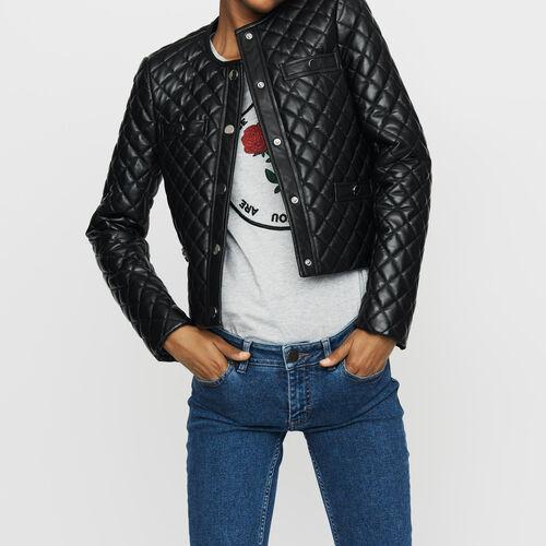 Jacke aus gestepptem Leder : Leder farbe SCHWARZ