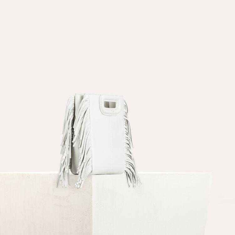 M mini Tasche mit Fransen aus Leder : M Tasche farbe Weiss