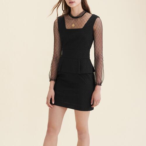 Kleid aus zwei Materialien mit Plumetis : Robes farbe Schwarz