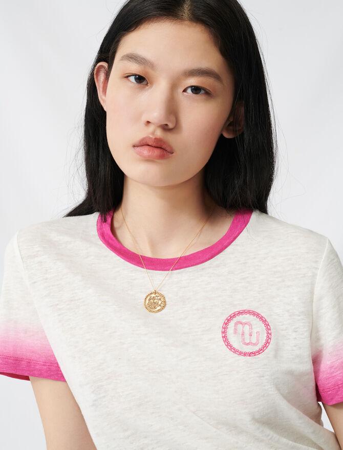 T-Shirt mit Monogramm und Tie-&-Dye - T-Shirts - MAJE