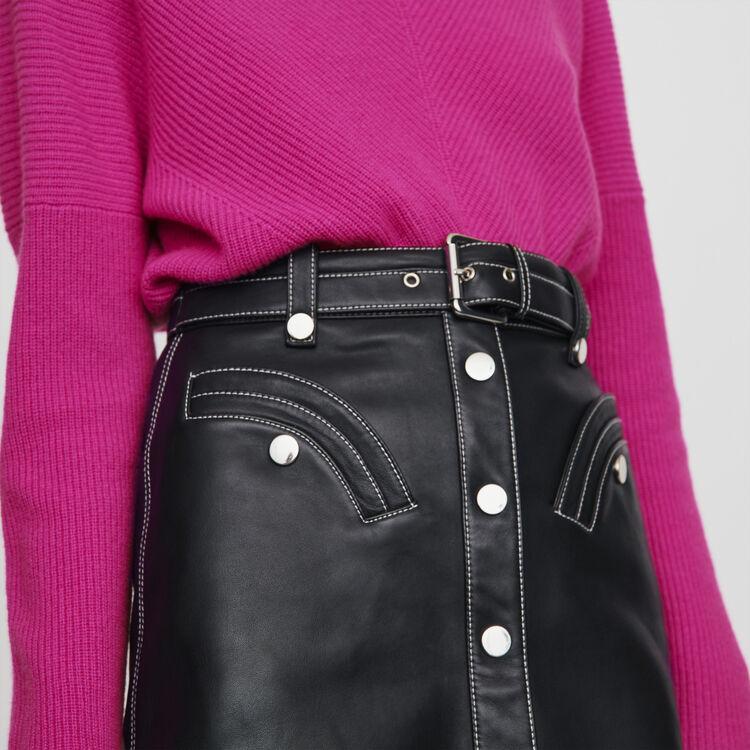 Leder Skater Rock mit Gürtel : Röcke & Shorts farbe Schwarz