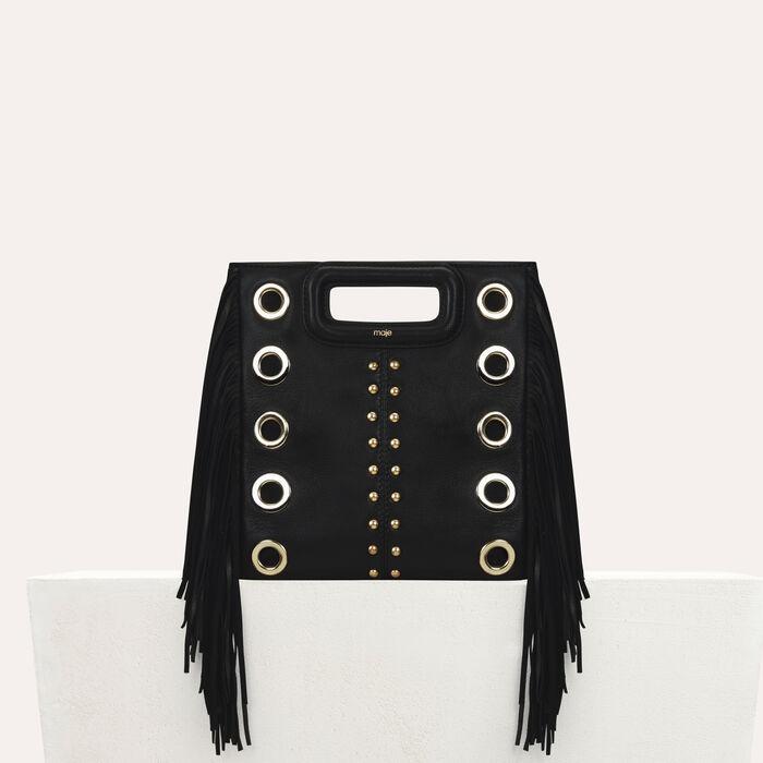 Leder-M-Tasche mit Nieten und Ösen : Neue Kollektion farbe Schwarz