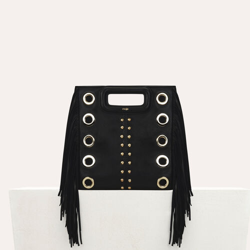 Leder-M-Tasche mit Nieten und Ösen : Office girl farbe Schwarz