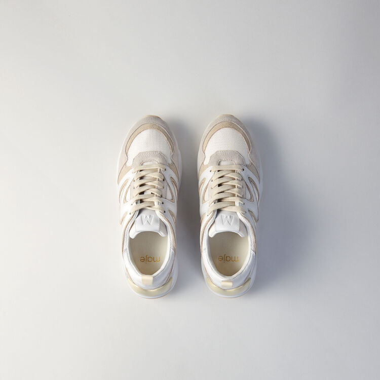 W22 mixed material sneakers : Sneakers farbe Elfenbeinfarben