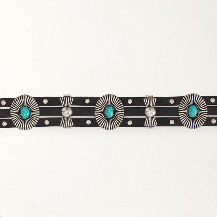 High-Waist-Gürtel mit Nieten : Gürtel farbe Schwarz
