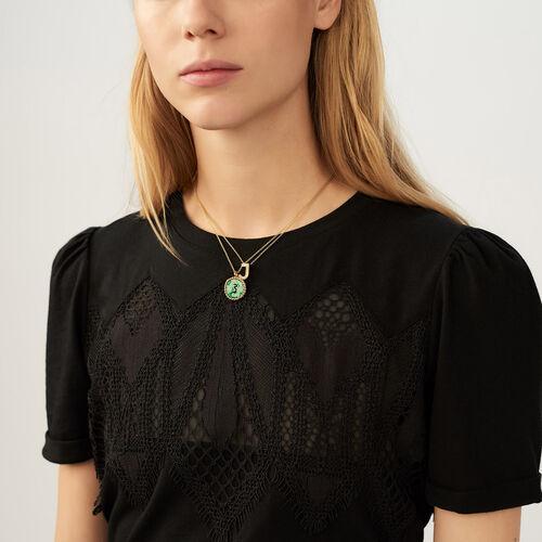 T-Shirt mit Spitze : T-Shirts farbe Schwarz