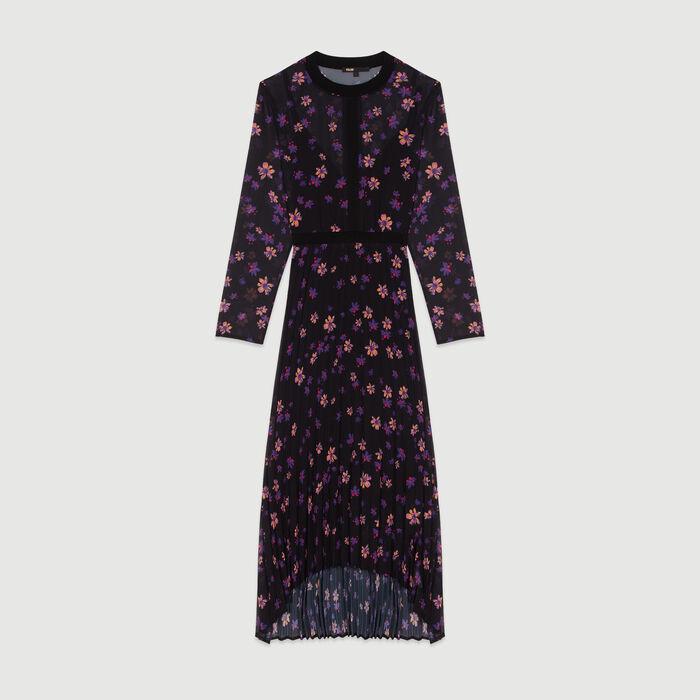 Langes Plissee-Kleid : Kleider farbe IMPRIME