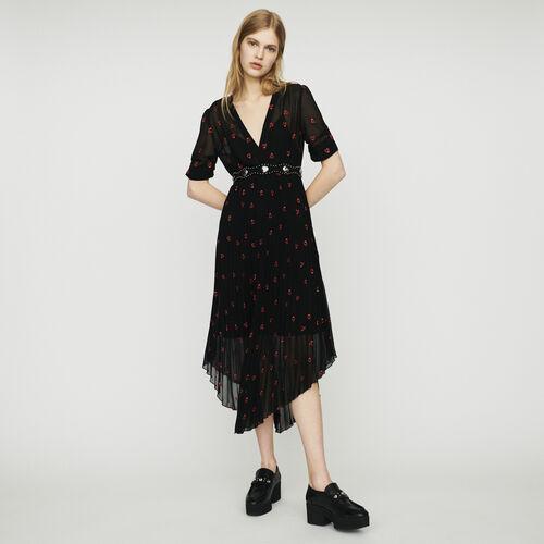 Plissee-Kleid mit Herz Stickereien : Kleider farbe Schwarz