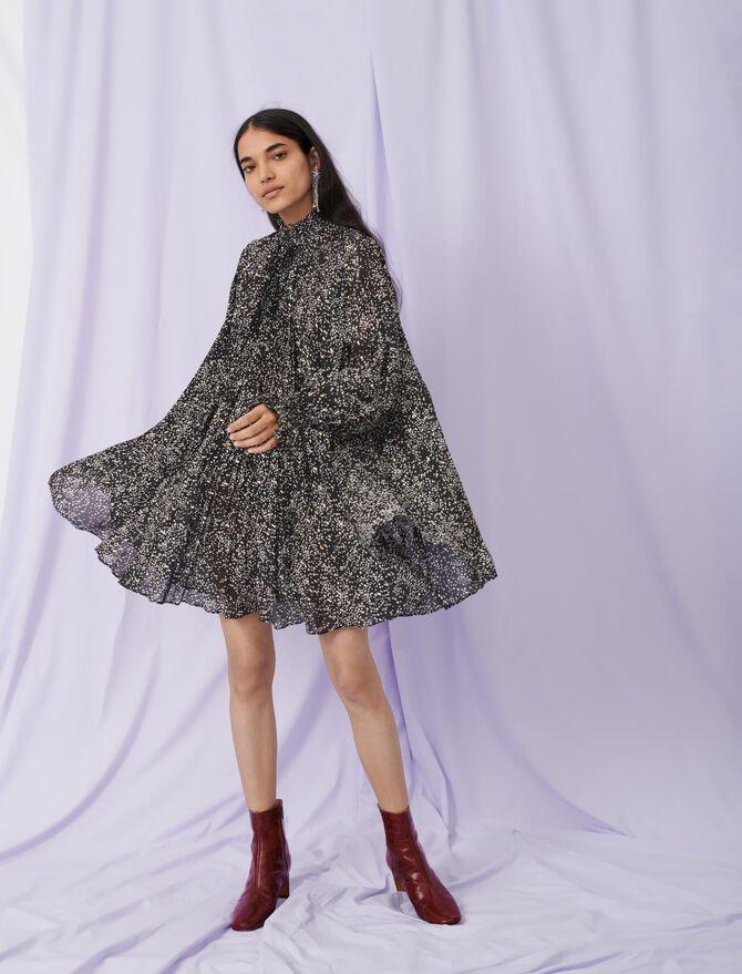Babydoll-Kleid aus bedruckter Seide -  - MAJE
