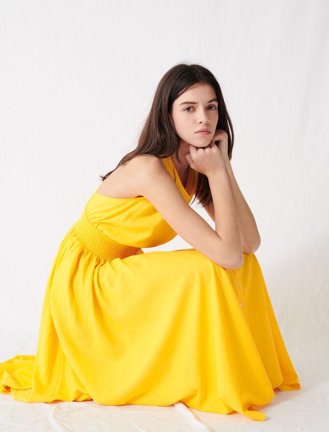 Gemoktes Kleid aus sonnengelbem Leinen - Kleider - MAJE