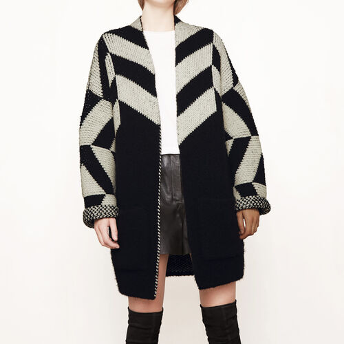 Oversize-Cardigan aus Jacquard-Strick : Pullover und Cardigans farbe Rot