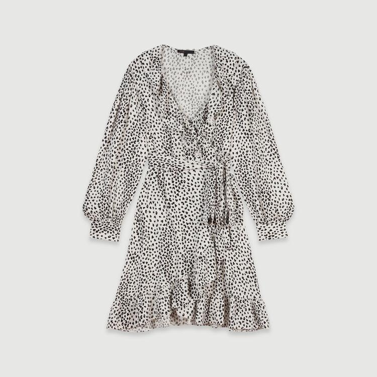 Cache-Coeur Kleid mit Jacquard Print : Kleider farbe Weiss