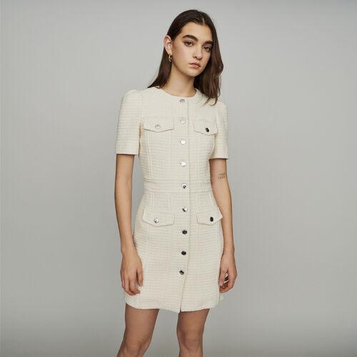 Gerades Kleid im Tweed-Stil : Kleider farbe Ecru