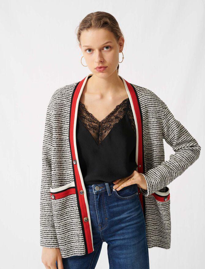 Tweed-Cardigan mit farbigen Streifen - Pullover & Strickjacken - MAJE