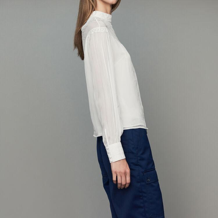Voile-Bluse mit Stickerei : Tops farbe Weiss
