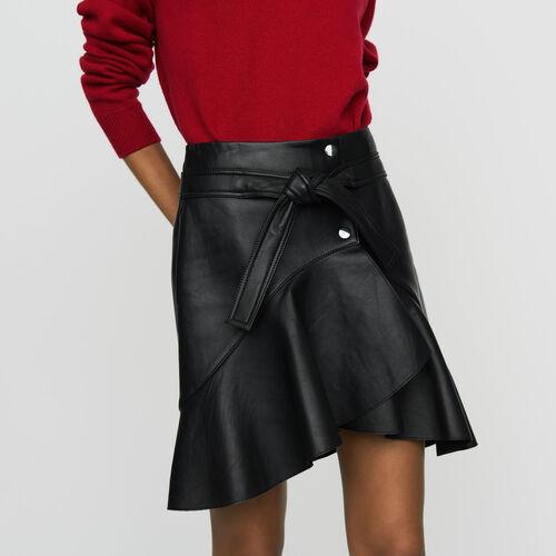 Asymmetrischer Lederrock : Tartan farbe Schwarz