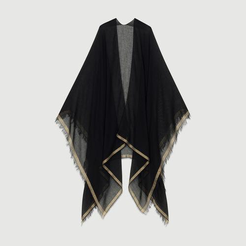 Poncho mit Lurexstreifen : Schals & Rundschals farbe Schwarz