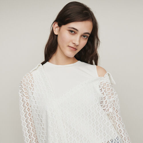 Trompe-l'Oeil-Bluse mit  Guipure : Tops farbe Weiss