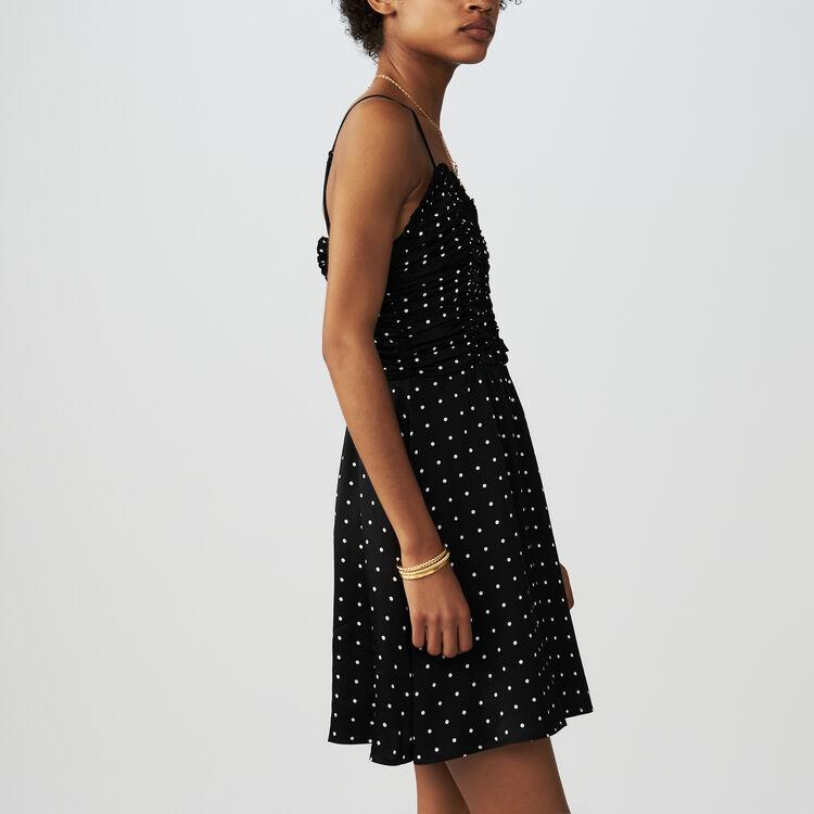 Kleid mit schmalen gepunkteten Trägern : Kleider farbe Schwarz