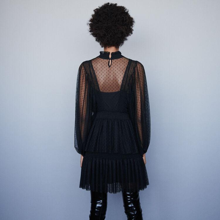 Tüllkleid mit Volants aus Plumetis : Kleider farbe Schwarz
