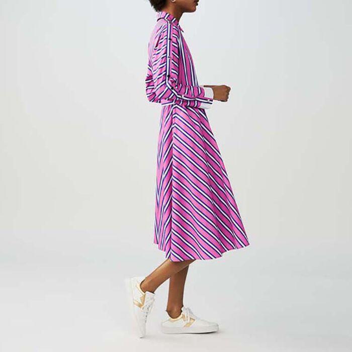 Langes gestreiftes Hemdkleid : Kleider farbe Gestreift