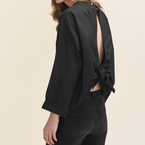 Weite Bluse mit offenem Rücken : Tops farbe Schwarz