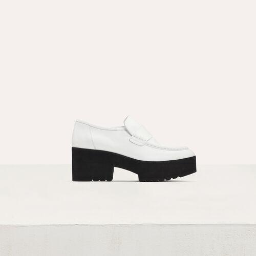 Leder Plateau-Mokassins : Flache Schuhe farbe Weiss