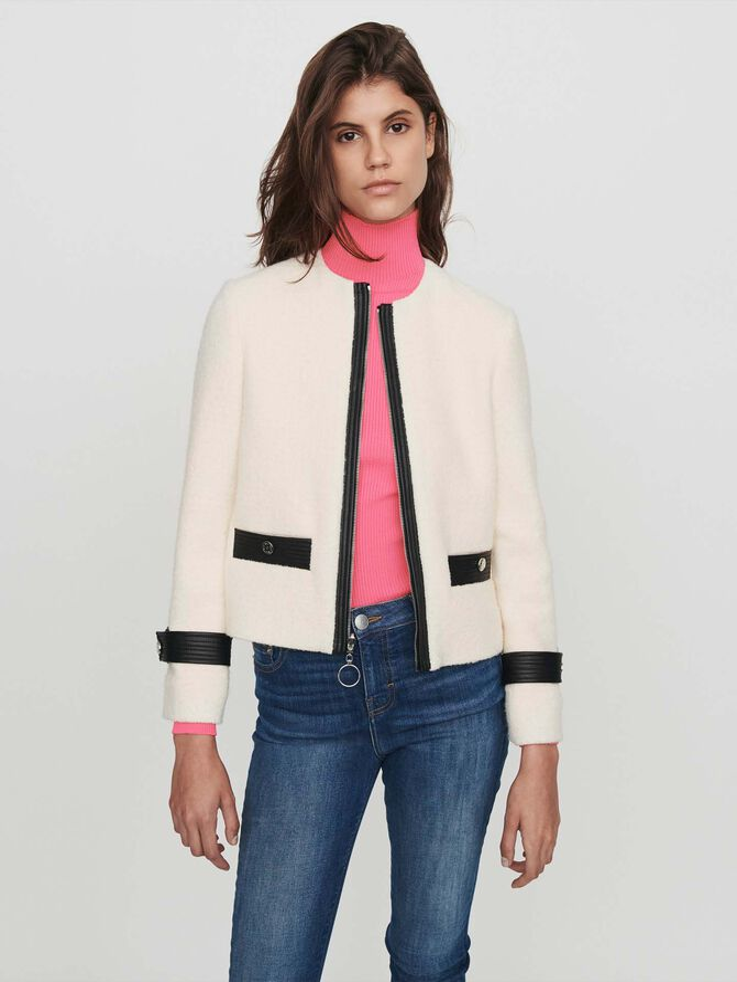 Jacke mit kontrastierendem Tweed-Effekt -  - MAJE