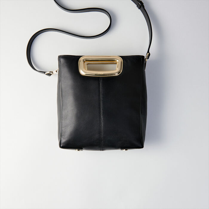 Suede and goldtone metal M Skin bag : M Skin farbe Schwarz
