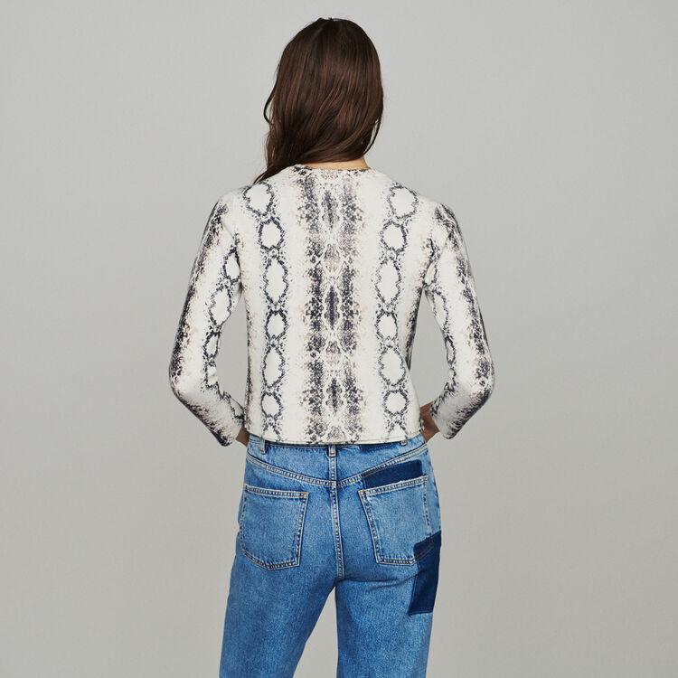 Kurzer Cardigan mit Python-Print : Pullover & Strickjacken farbe IMPRIME