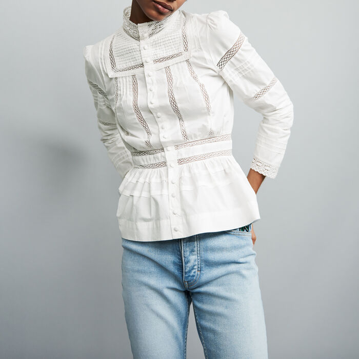Popeline-Bluse mit Stickereien : Hemden farbe Weiss