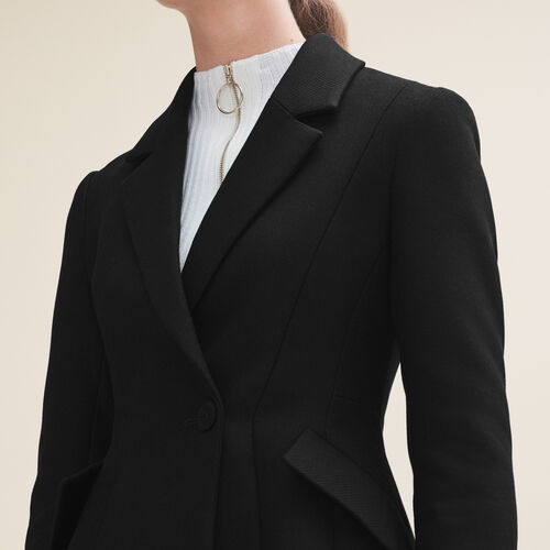Strukturierte Jacke mit Schößchen : Blazers farbe Schwarz