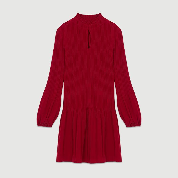 Kurzes Plissee-Kleid : Bekleidung farbe Himbeerrot