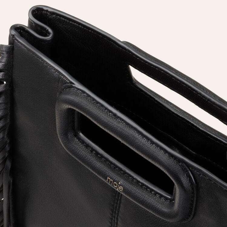 M-Ledertasche mit Fransen : M Tasche farbe Schwarz