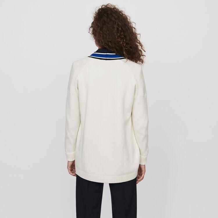 Cardigan mit Streifen und Stickereien : Pullover & Strickjacken farbe Ecru