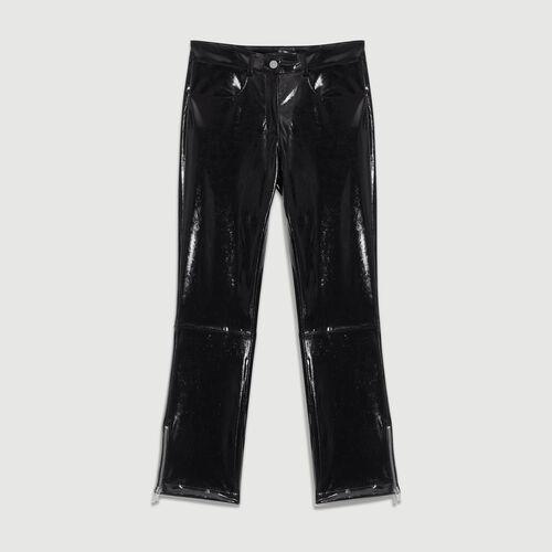 Skinny-Hose aus Skai : Hosen farbe Schwarz