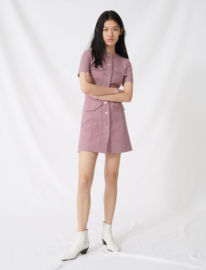 Kurzes betontes Kleid mit Karomuster - Kleider - MAJE