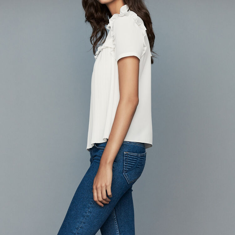 Plissee-Bluse mit Volants : Tops farbe Weiss