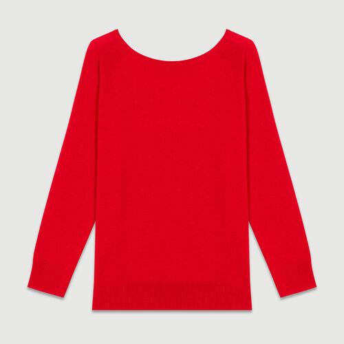 Pullover mit Rückenausschnitt : Strickwaren farbe ROUGE