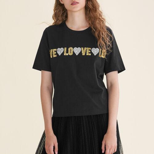 T-Shirt aus Baumwolle mit Pailletten : T-shirts farbe Schwarz
