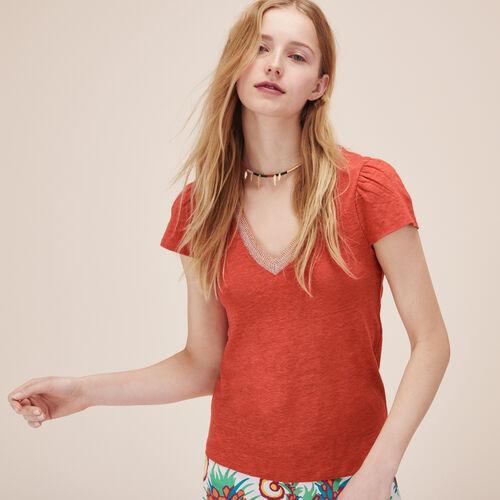 T-Shirt aus Leinen mit Rüschenärmeln - Tops und Hemden - MAJE