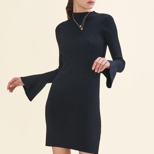 Kleid aus Lurex-Strick : Robes farbe Schwarz
