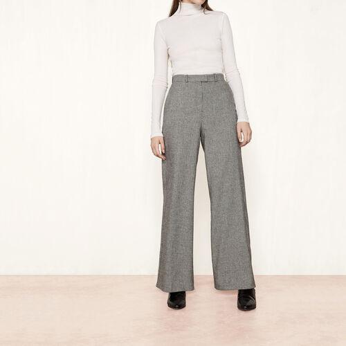 Weite Hose aus Wolljacquard : Hosen und Jeans farbe Jacquard
