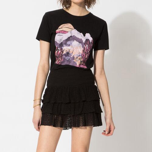 Bedrucktes T-Shirt aus Baumwolle : T-shirts farbe Schwarz
