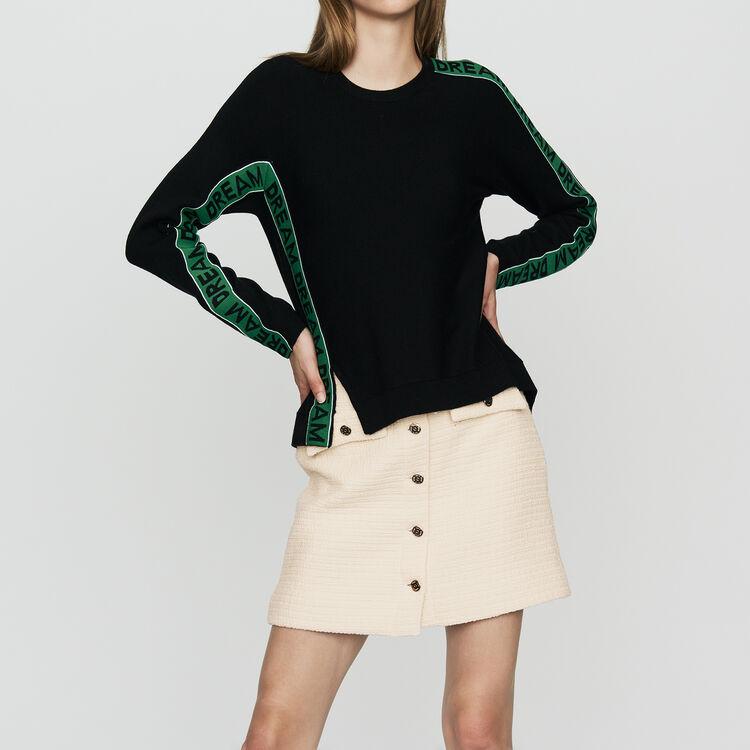 Oversize-Pullover mit Inschrift : Neue Kollektion farbe Schwarz