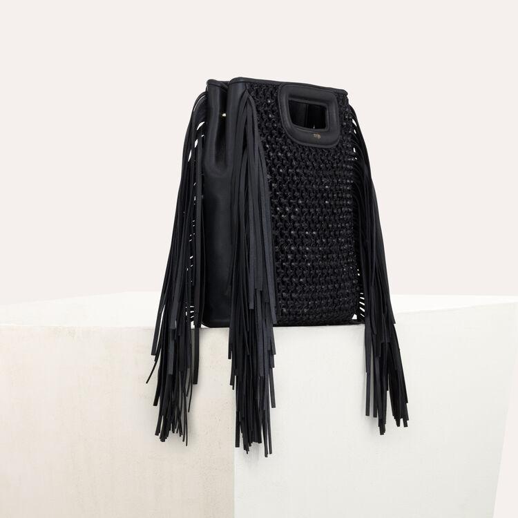 M Tasche aus geflochtenem Raffiablast : M Tasche farbe Schwarz