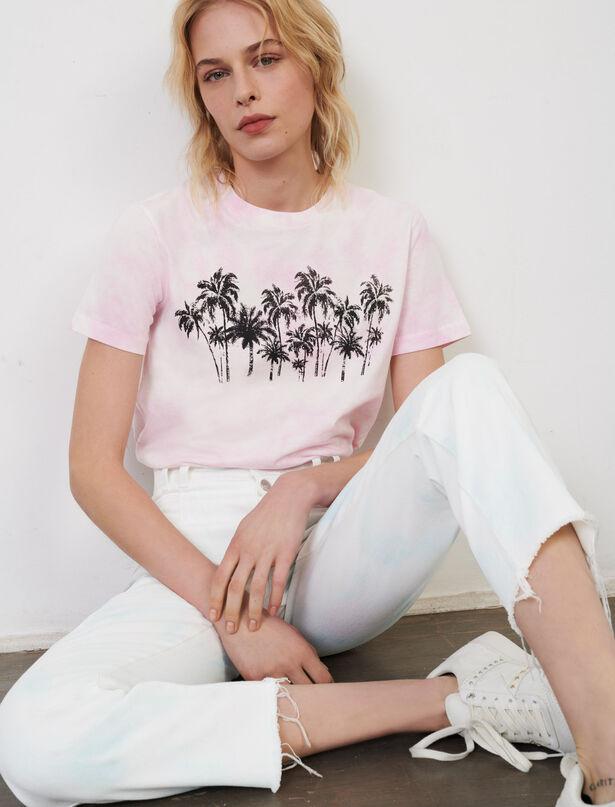 마쥬 반팔티 MAJE T-Shirt mit Tie-&-Dye-Print,Rosa