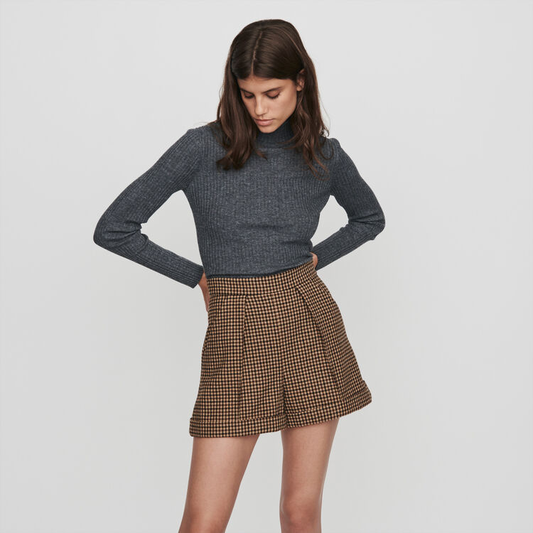 Wendbare Karo Shorts mit Falten : Röcke & Shorts farbe Braun